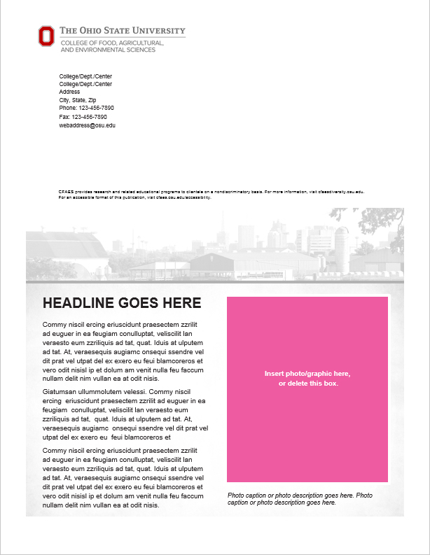 Newsletters The CFAES Brand - 4 page newsletter template