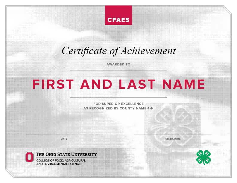 4-H certificate