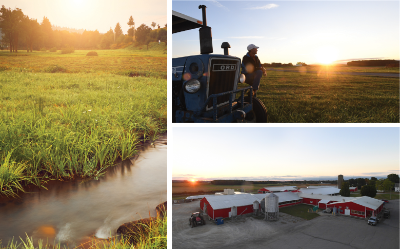 A river before dusk, a farmer standing by his tractor, and an aerial view of a farm