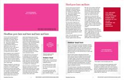 Brand Newsletter, 8 page template, page 4 and 5