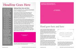 Brand Newsletter, 8 page template, page 2 and 3