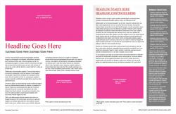 Brand Newsletter, 8 page template, page 6 and 7
