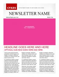 Brand Newsletter, 2 page template, page 1